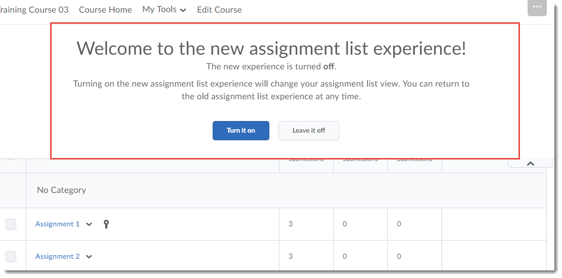 Assignment List Experience pop-up