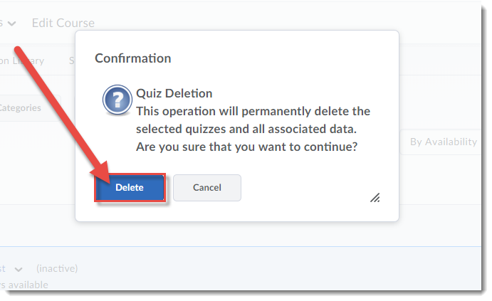 In the pop-up box select Delete