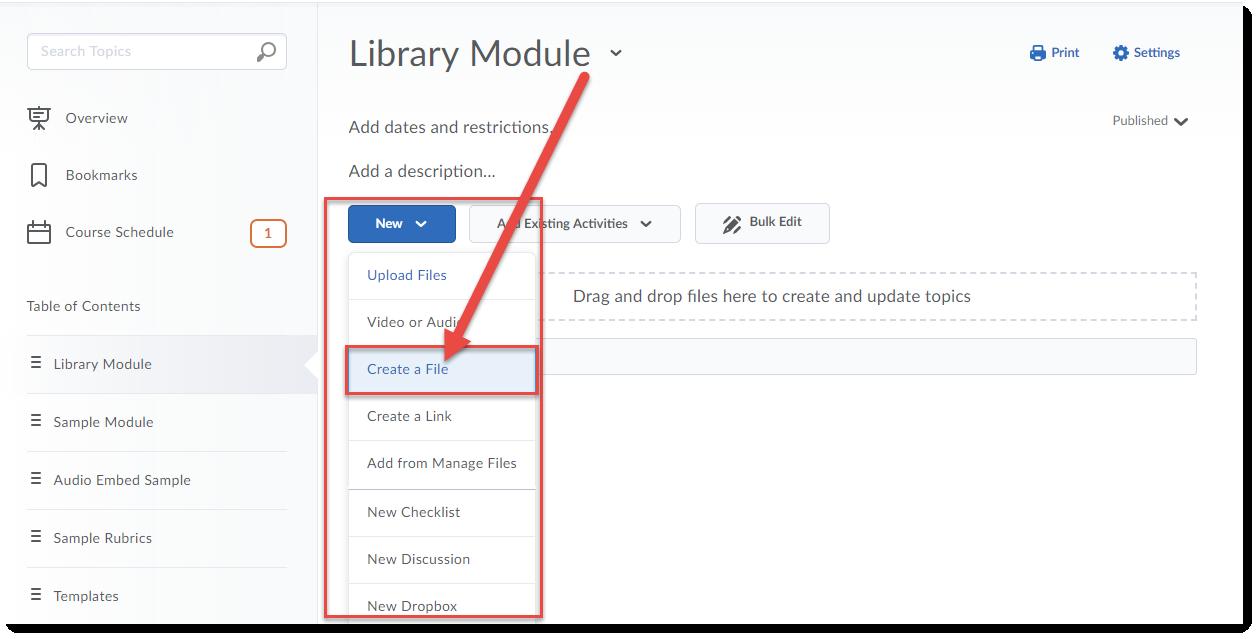 Click New then Create a File