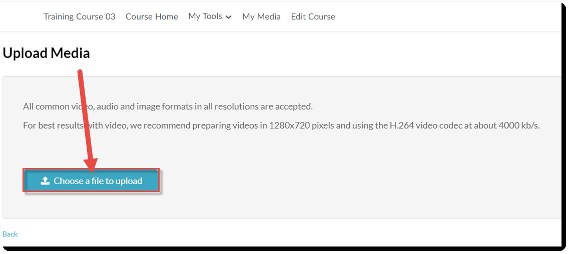 Click Choose file to upload