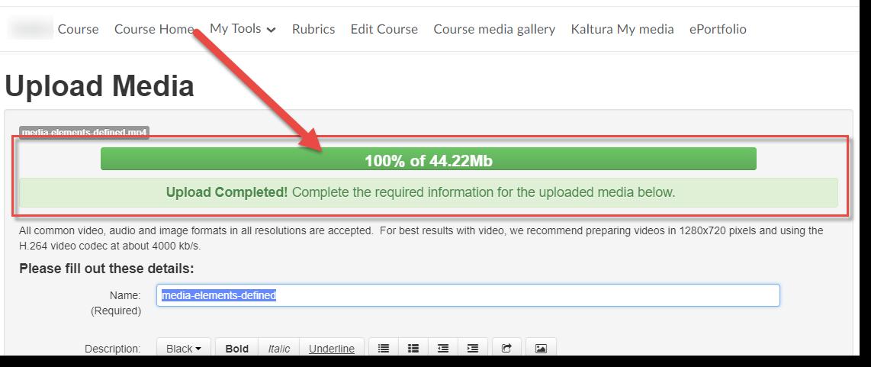 Completed upload status bar