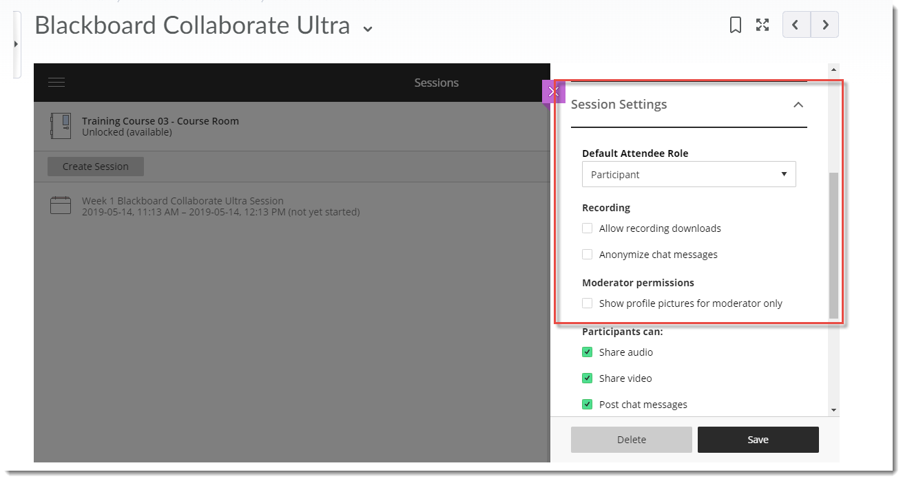 Begin to select your Session Settings