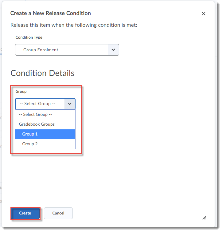 Select Group 1 and click Create