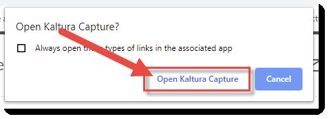 Click Open Kaltura Capture