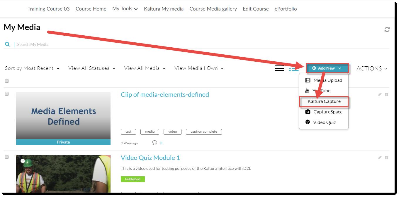 Click Add New and select Kaltura Capture