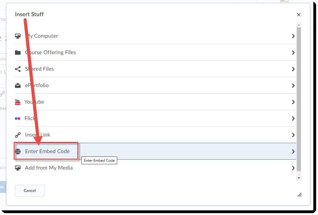 Click Enter Embed Code