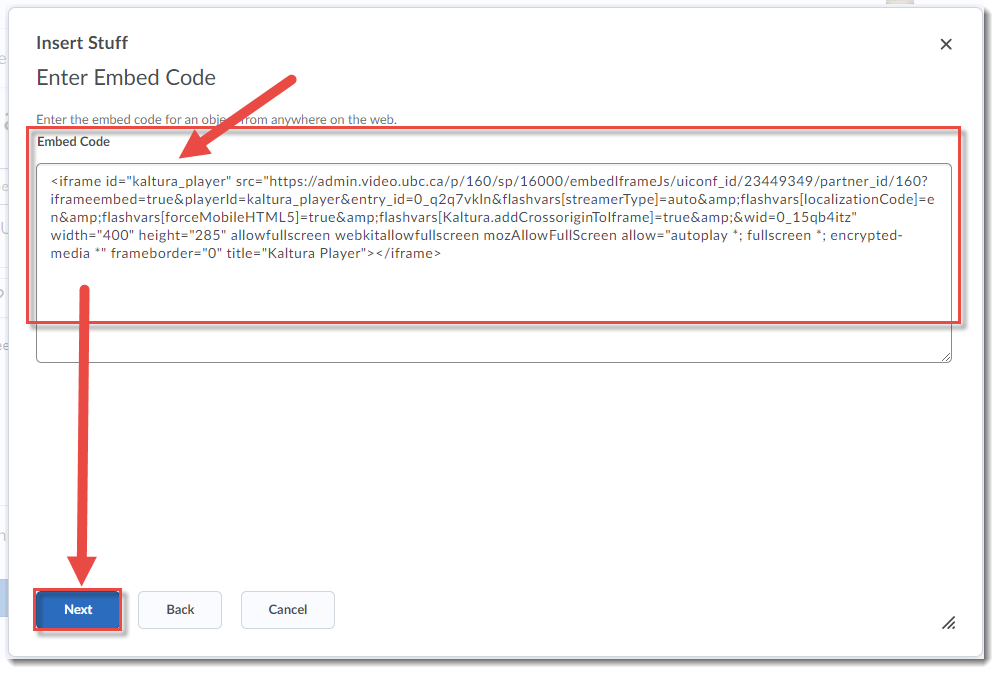 Paste the embed code and click Next