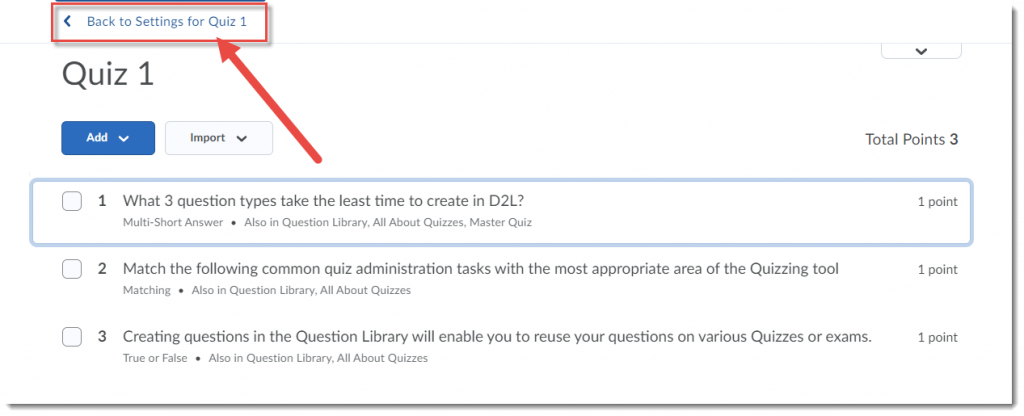 Click Back to Settings for Quiz