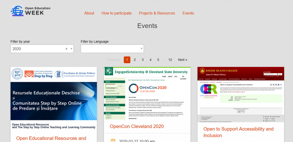 Open Ed Week events page screen capture